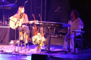 Amy Grant with a young hopeful musician